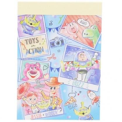 〔小禮堂〕迪士尼 玩具總動員 日製迷你便條本《淡藍.相片》便條紙.留言紙