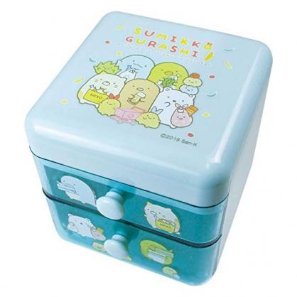 〔小禮堂〕角落生物 桌上型塑膠雙抽收納盒《淡綠.購物》置物盒.抽屜盒.飾品盒