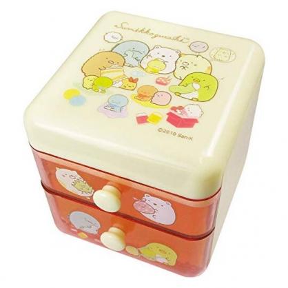 〔小禮堂〕角落生物 桌上型塑膠雙抽收納盒《粉黃.玩偶》置物盒.抽屜盒.飾品盒