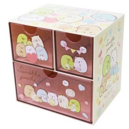 〔小禮堂〕角落生物 桌上型塑膠三抽收納盒《粉黃.玩偶》置物盒.抽屜盒.飾品盒