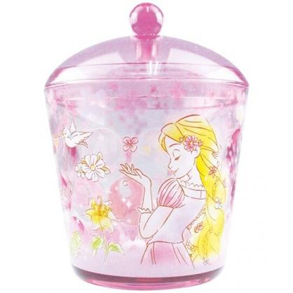 〔小禮堂〕迪士尼 長髮公主 圓形壓克力拿蓋收納罐《透明紫.閉眼》置物罐.棉花罐.收納盒