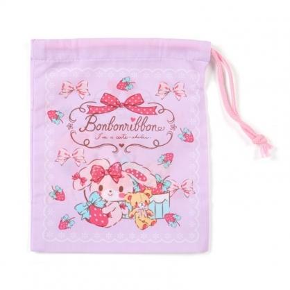 〔小禮堂〕蹦蹦兔 日製棉質束口袋《紫.抱草莓》16x20cm.縮口袋.牙刷杯袋