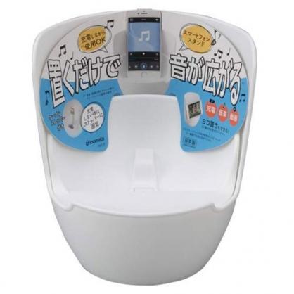 〔小禮堂〕日本INOMATA 日製圓筒塑膠音箱手機架《白》音箱架.手機擴音座