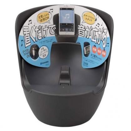 〔小禮堂〕日本INOMATA 日製圓筒塑膠音箱手機架《深灰》音箱架.手機擴音座