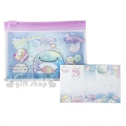〔小禮堂〕甚平鯊 日製自黏便利貼附夾鏈袋《藍紫.抱魟魚》標籤貼.便條紙.N次貼