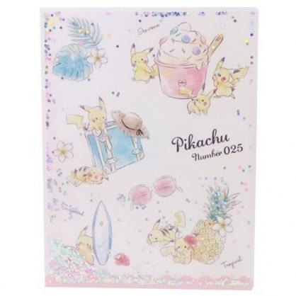 〔小禮堂〕神奇寶貝Pokemon 皮卡丘 雙開式文件夾《A4.粉米.亮片流沙》資料夾.檔案夾