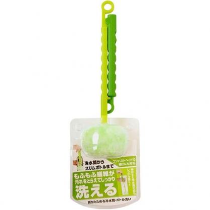 〔小禮堂〕日本SANBELM 可折疊長柄水壺清潔刷《綠.圓刷頭》水壺刷.水瓶刷