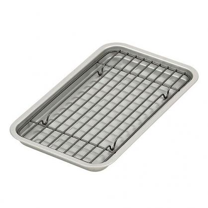 〔小禮堂〕日製鐵製長方形鐵網烤盤組《2入.銀》平底煎盤.烤肉盤