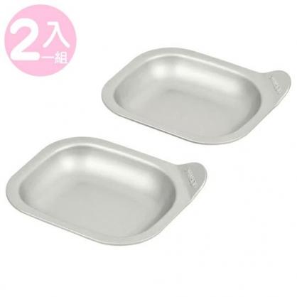 〔小禮堂〕日製鐵製長方形圓角烤盤組《2入.銀》平底煎盤.烤肉盤