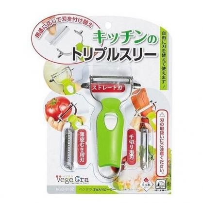 〔小禮堂〕日本PEARL日製可替換不鏽鋼削皮器《綠銀》削皮刀.皮引.刨絲器
