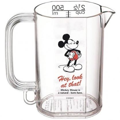 〔小禮堂〕迪士尼 米奇 日製單耳透明塑膠量杯《紅黑.瞇眼笑》500ml.烘焙用品