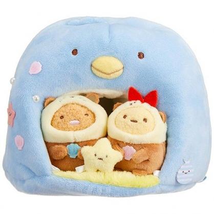 〔小禮堂〕角落生物 企鵝造型絨毛玩偶娃娃屋《藍棕》公仔.擺飾.絨毛收納盒
