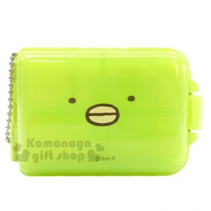 〔小禮堂〕角落生物 企鵝 方型塑膠七格隨身置物盒《綠.大臉》掛飾.藥盒.收納盒