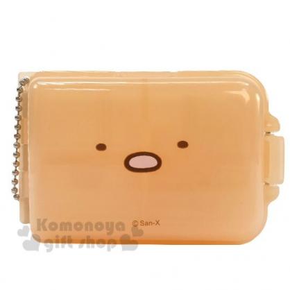 〔小禮堂〕角落生物 豬排 方型塑膠七格隨身置物盒《橘.大臉》掛飾.藥盒.收納盒