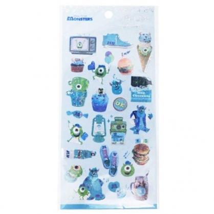 〔小禮堂〕迪士尼 怪獸大學 造型鐳射光貼紙組《藍綠.甜點》裝飾貼.黏貼用品