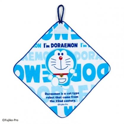 〔小禮堂〕哆啦A夢 可掛式純棉割絨擦手巾《藍白.文字》30x30cm.毛巾