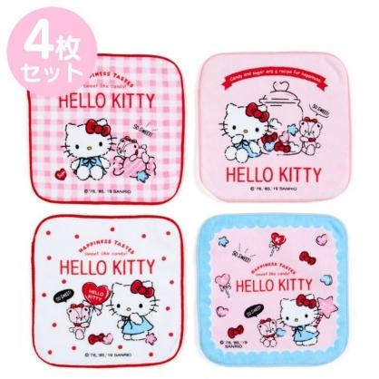 〔小禮堂〕Hello Kitty 純棉割絨圓角小方巾組《4入.粉.格紋》16x16cm.毛巾.手帕