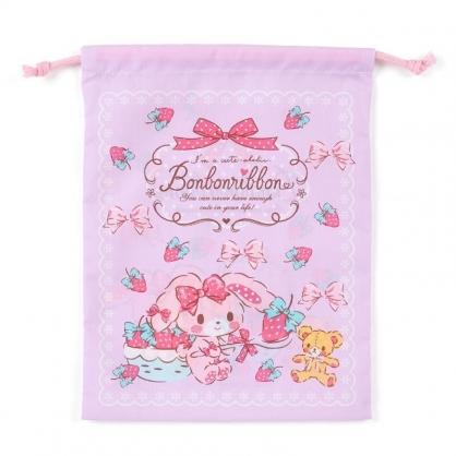 〔小禮堂〕蹦蹦兔 日製棉質束口袋《紫.拿草莓》20x27cm.縮口袋.收納袋