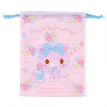 〔小禮堂〕甜夢貓 日製棉質束口袋《粉紫.香水瓶》20x27cm.縮口袋.收納袋