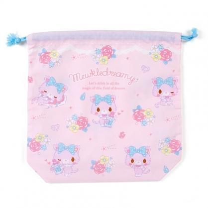 〔小禮堂〕甜夢貓 日製棉質束口袋《粉紫.香水瓶》33x33cm.縮口袋.收納袋.鞋袋