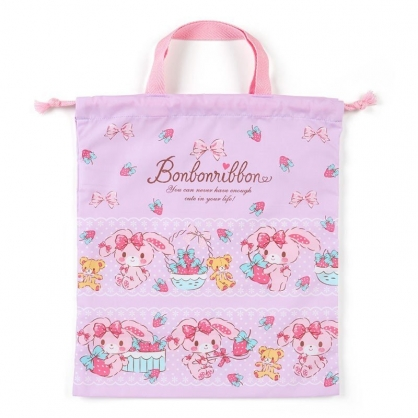 〔小禮堂〕蹦蹦兔 日製棉質手提束口袋《紫.抱草莓》30x35cm.縮口提袋.手提袋