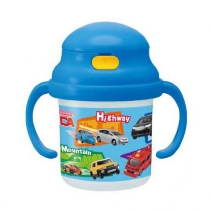〔小禮堂〕TOMICA小汽車 透明彈蓋雙耳吸管學習杯《藍.車種》230ml.兒童水壺