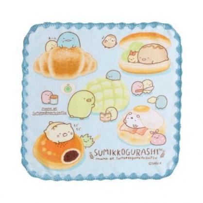 〔小禮堂〕角落生物 純棉割絨圓角小方巾《藍棕.吃麵包》24x24cm.手帕.毛巾