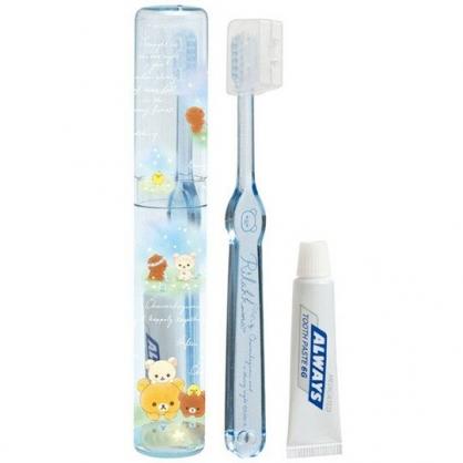 〔小禮堂〕懶懶熊 拉拉熊 日製透明筒裝旅行牙刷組《藍綠.星空》折疊牙刷.盥洗用品