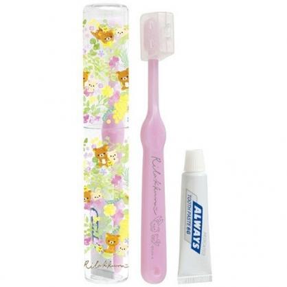 〔小禮堂〕懶懶熊 拉拉熊 日製透明筒裝旅行牙刷組《紫黃.花朵》折疊牙刷.盥洗用品