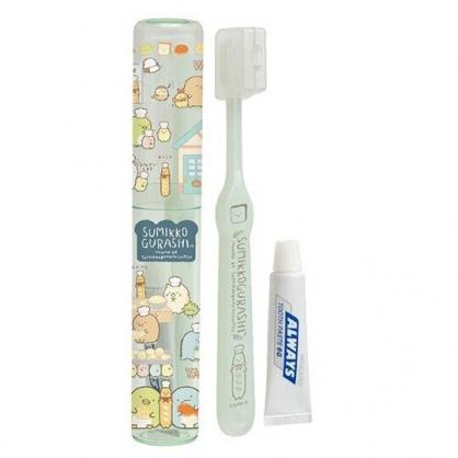 〔小禮堂〕角落生物 日製透明筒裝旅行牙刷組《綠.廚師》折疊牙刷.盥洗用品