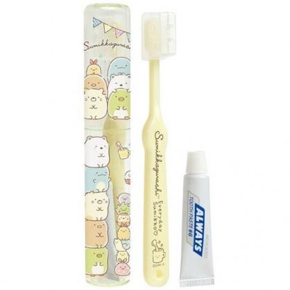 〔小禮堂〕角落生物 日製透明筒裝旅行牙刷組《黃.疊坐》折疊牙刷.盥洗用品