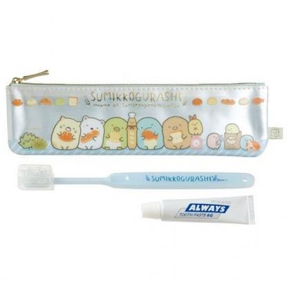 〔小禮堂〕角落生物 日製旅行牙刷組附收納袋《藍白.麵包》盥洗用品