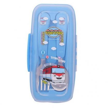 〔小禮堂〕嘟嘟小火車 盒裝不鏽鋼兩件式餐具組《藍.過山洞》湯叉.環保餐具.兒童餐具