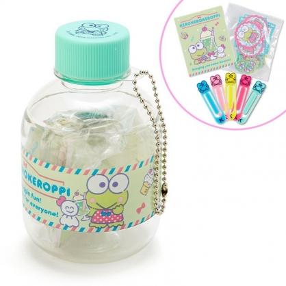 〔小禮堂〕大眼蛙 寶特瓶裝迷你文具組《綠》掛飾.迴紋針.便條紙.貼紙