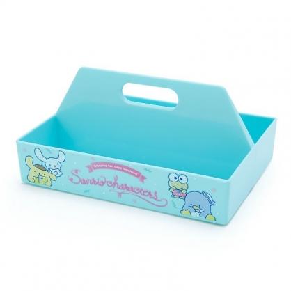 〔小禮堂〕Sanrio大集合 塑膠長形可堆疊手提收納盒《綠.喝飲料》置物盤.置物籃