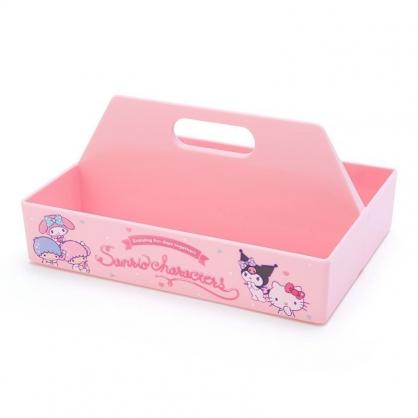 〔小禮堂〕Sanrio大集合 塑膠長形可堆疊手提收納盒《粉.喝飲料》置物盤.置物籃