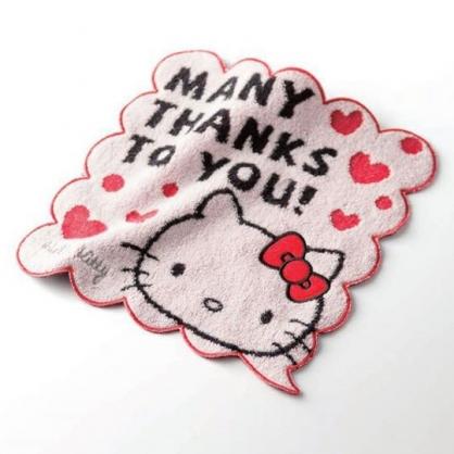 〔小禮堂〕Hello Kitty 純棉無捻紗花邊小方巾《紅白.大臉》25x25cm.手帕.丸真毛巾