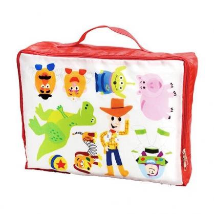 〔小禮堂〕迪士尼 玩具總動員 尼龍方形旅行衣物收納袋《紅白.Q版》鞋袋.盥洗袋