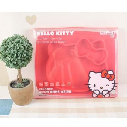 〔小禮堂〕Hello Kitty 大臉造型防滑三格矽膠餐盤《紅》食物盤.兒童餐具