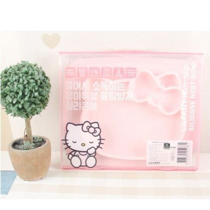 〔小禮堂〕Hello Kitty 大臉造型防滑三格矽膠餐盤《粉》食物盤.兒童餐具