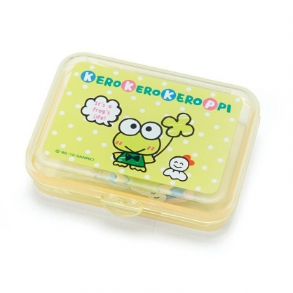 〔小禮堂〕大眼蛙 日製造型貼紙組附盒《黃.點點》40枚入.裝飾貼.黏貼用品