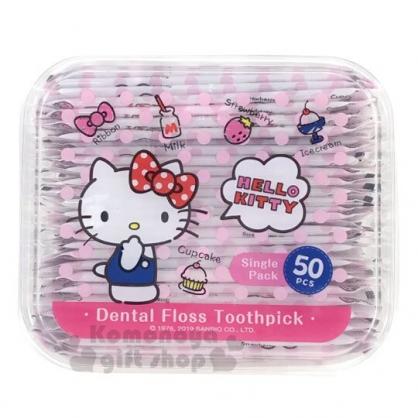 〔小禮堂〕Hello Kitty 盒裝紙包牙線棒《粉.摸嘴》單支包牙線棒.50支入