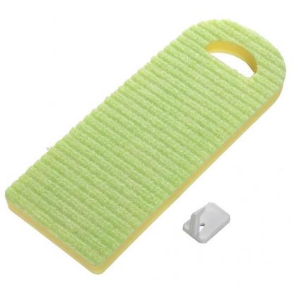 〔小禮堂〕日本SANKO 日製長方形海棉洗衣板《綠黃》洗衣刷.洗衣海棉