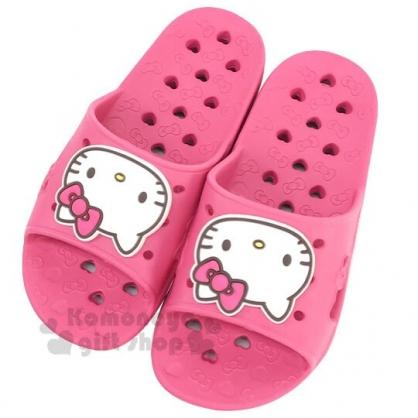 〔小禮堂〕Hello Kitty 兒童矽膠簍空浴室拖鞋《粉白.愛心》陽台拖.室內拖