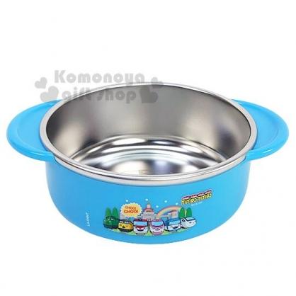 〔小禮堂〕嘟嘟小火車 雙耳平底不鏽鋼碗《藍.朋友排列》350ml.兒童碗.隔熱碗