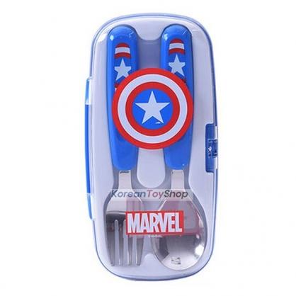 〔小禮堂〕漫威英雄 Marvel美國隊長 盒裝兩件式不鏽鋼叉匙組《藍紅》環保餐具組.兒童餐具