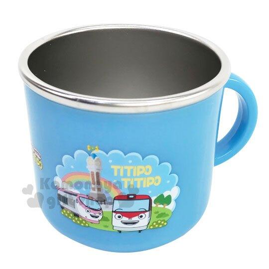 〔小禮堂〕嘟嘟小火車 單耳不鏽鋼小水杯《藍.彩虹》210ml.漱口杯.茶杯
