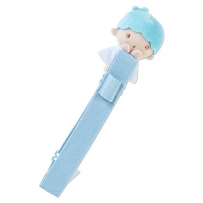 〔小禮堂〕雙子星KIKI 絨毛玩偶娃娃手帳專用束帶《淡藍》筆記本束帶.日誌束帶