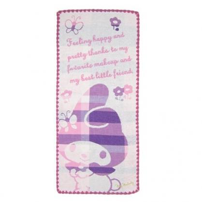 〔小禮堂〕美樂蒂 純棉無捻紗長毛巾《粉紫.格紋帽》34x80cm.長巾.丸真毛巾