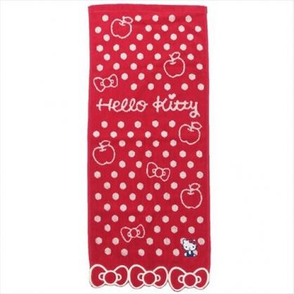 〔小禮堂〕Hello Kitty 純棉無捻紗長毛巾《紅.蝴蝶結下擺》34x80cm.長巾.丸真毛巾